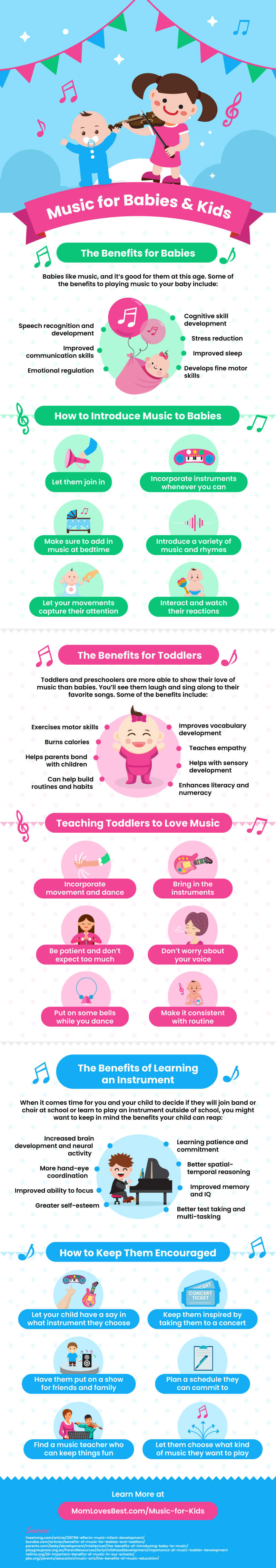 Infographic from Momlovesbest.com showing some benefits children get from playing an instrument
